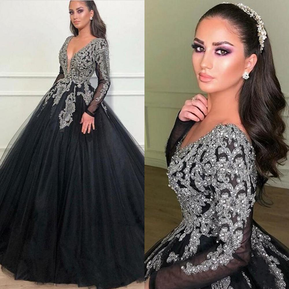 2020 Sexy Elegant Woman Prom Silver Lace Dresses Plus Size Long Muslim Arabic Ball Gown Black Evening Gowns Formal Party Dress