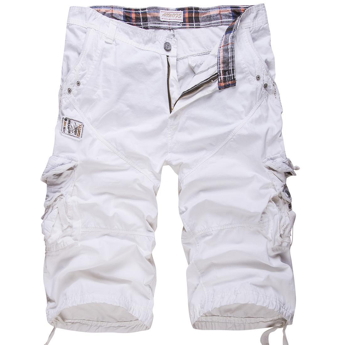 shorts ocasionais novos dos homens de algodão solta grandes calções tamanho de carga de cor retalhos sólida calções militares branca comprimento do joelho tático Y200511