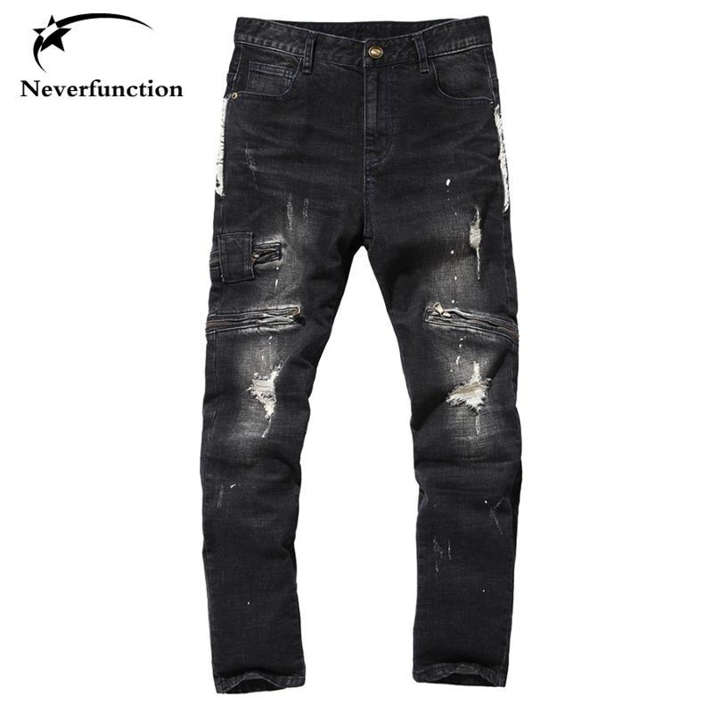 Hombres Vaqueros Tide Washed Negro Delgado Hombre Denim Jeans Homme Joggers motorista Hip Hop rasgados pantalones apenada Moto para el hombre