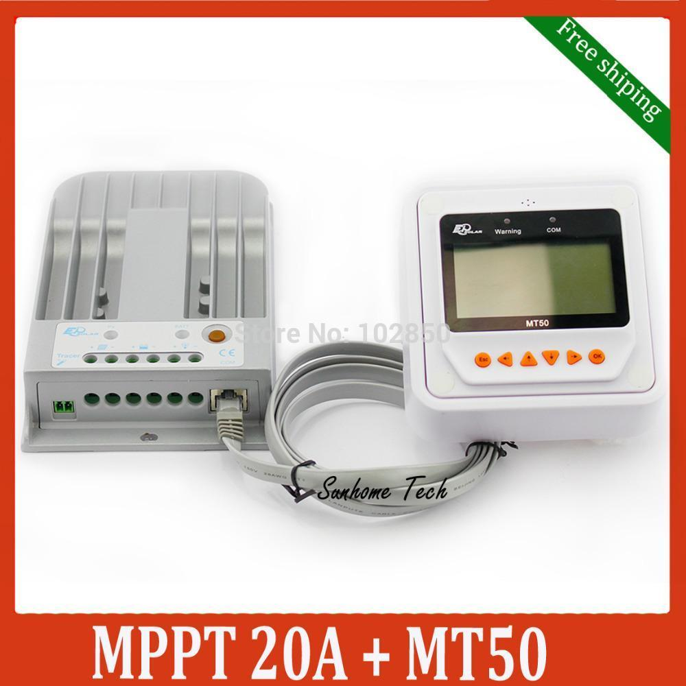 Freeshipping 20A 12V 24V New Tracer 2215BN 20 amps MPPT Solar Street Light Controller with MT50 LCD display Remote