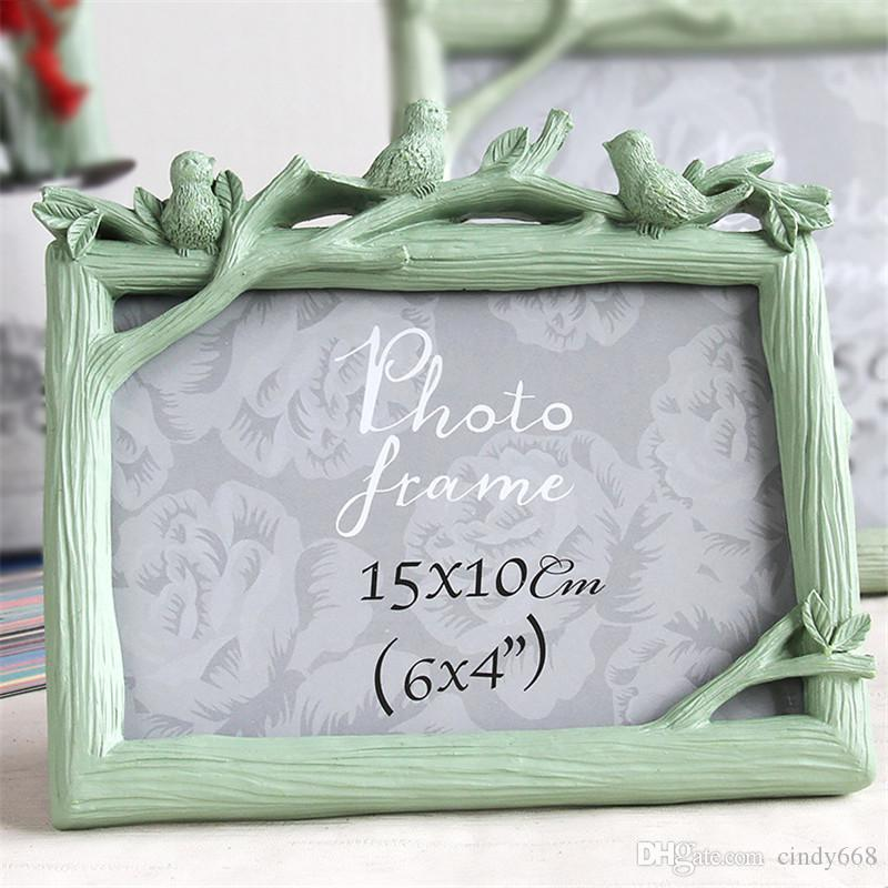 Pastoral Style Family Photo Frame Wood Grain Picture Frames Three Birds Photo Frame for Home Decoration Gift For Friend 3 Colors