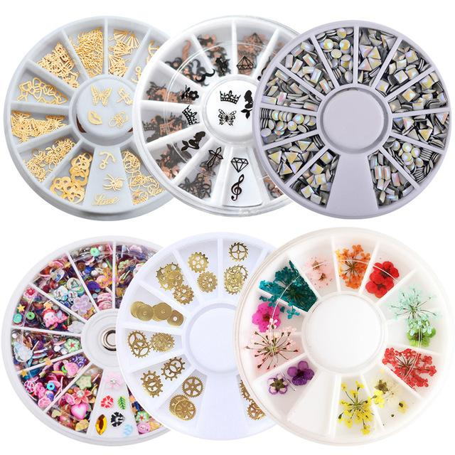 Beauty & Health 1 Box Metal Nail Art Sticker Polymer Clay Tiny Acrylic Bow Laser Sequins Dry Flowers Accessories Nail Decoration Wheel
