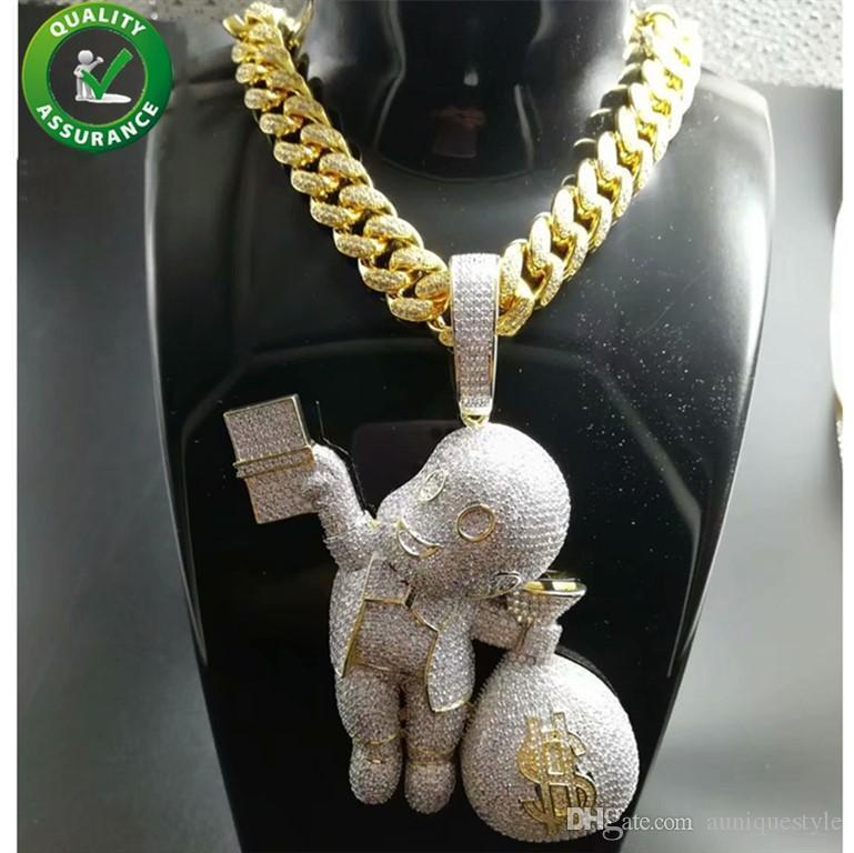 Iced Out Pendant Hip Hop Bling Chains Jewelry Men Gold Necklace Luxury Designer Diamond Cuban Link Cartoon Mario Money Bag Rapper DJ Charms