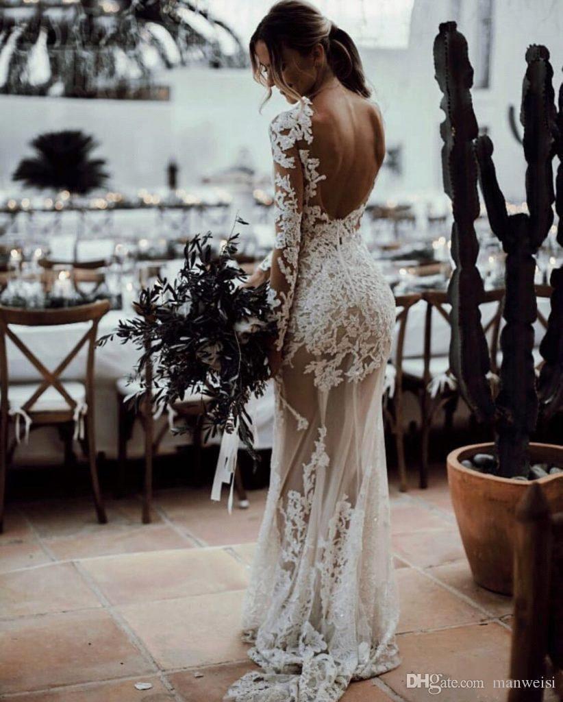 Custom Made Boho Lace Beaded Wedding Dress White//Ivory Mermaid Bridal Gown