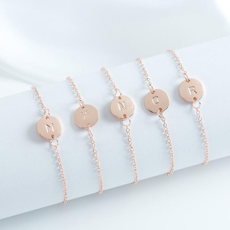 Hot sale A-Z initial letter charm bracelet for women girls adjustable size 26 alphabet name link anklet bracelet fashion cheap jewelry