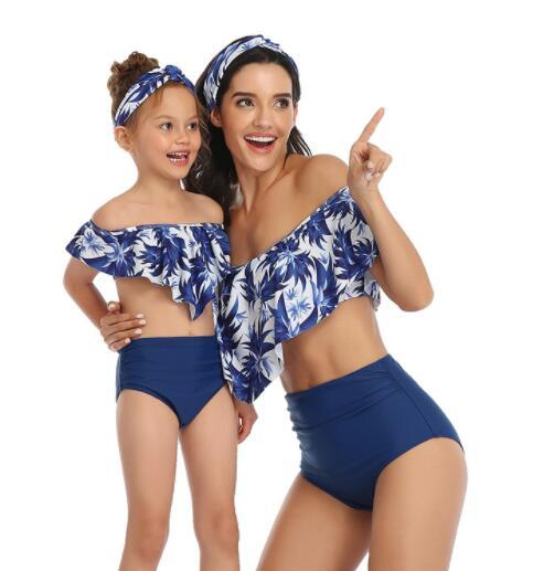 2020 populares de las mujeres del traje de baño dividido bikini de talle alto con volantes padre-niño traje de baño Bikini Set yakuda flexible con estilo