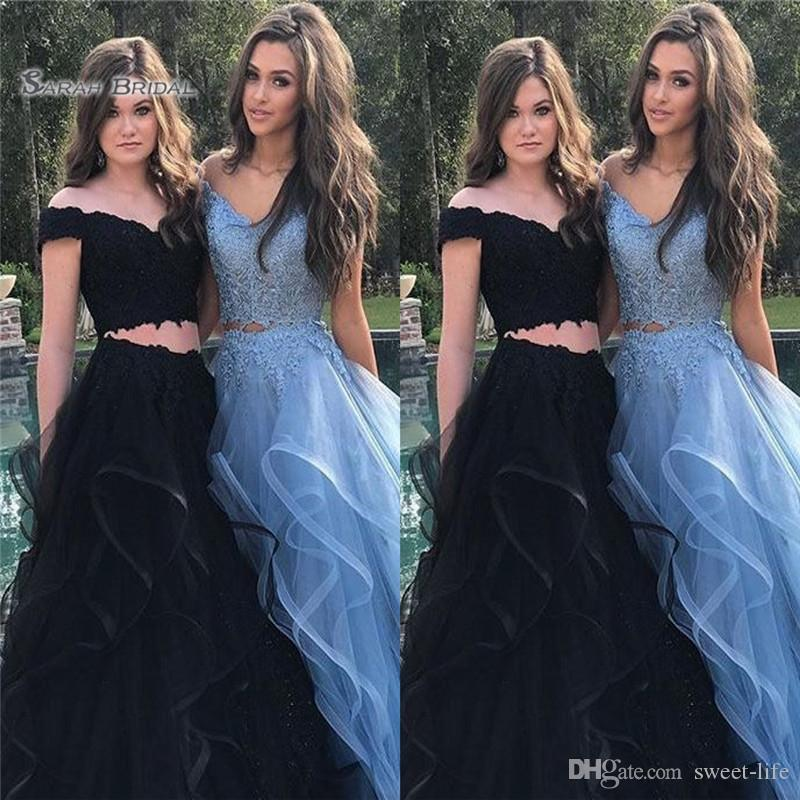 2019 Prom Dresses Tulle Two-piece Off The Shoulder Sleeveless High End Quality Evening Party Dress Hot Sales