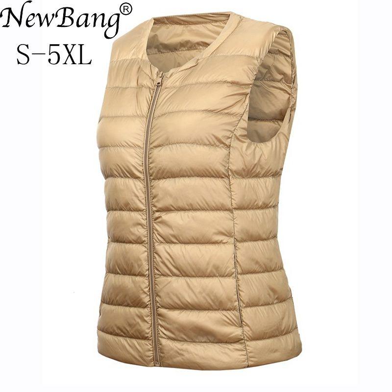 NewBang Brand 4XL 5XL Chaleco de gran tamaño chaleco cálido de las mujeres Ultra ligero abajo del chaleco de las mujeres sin mangas de invierno cálido forro caliente