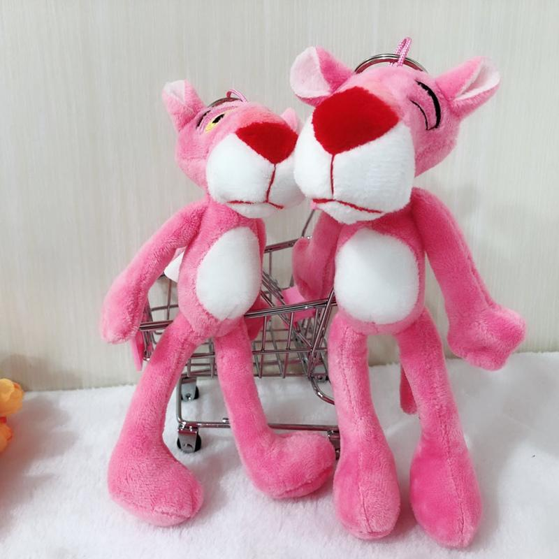 Cute 20cm Pink Panther Pendant Plush Dolls Cartoon Leopard Plush Toy Keychain Bag Pendant for Girls Children Gifts