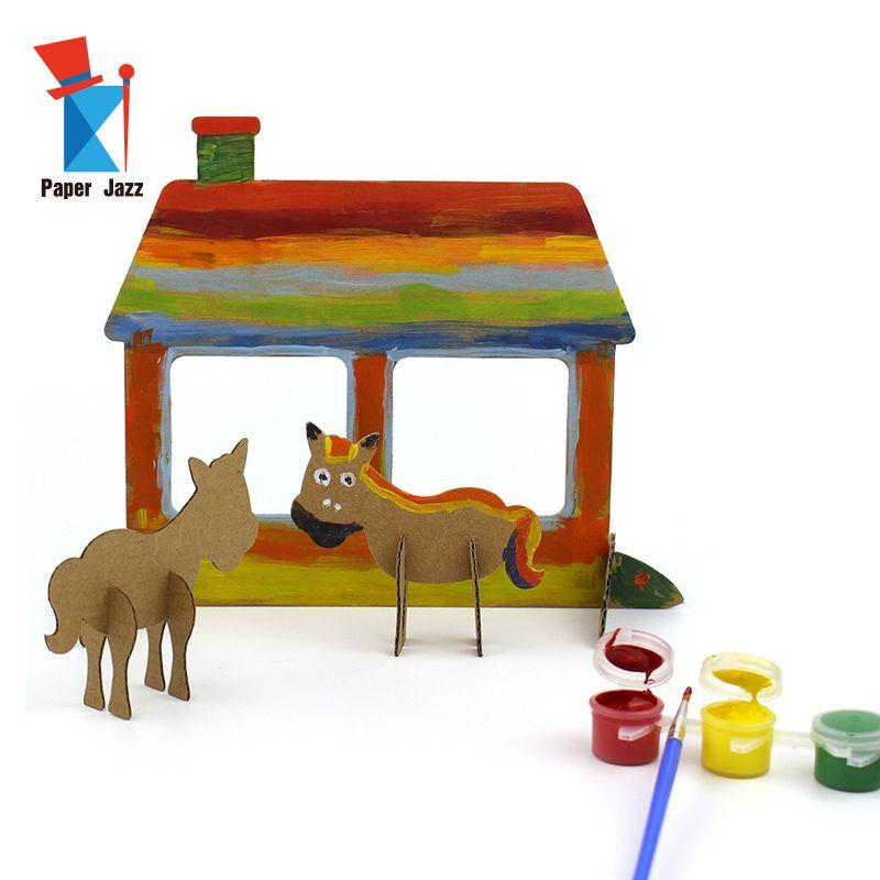 Diy pequeño graffit mundo granja rompecabezas 3d cartón Animal Cartoon Mini Puzzle niños educación rompecabezas juguetes