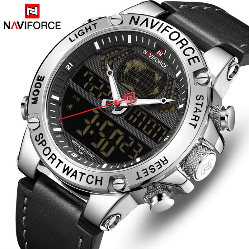 Naviforce أعلى ماركة رجل الأزياء الرياضة الساعات الرجال الجلود للماء كوارتز ساعة اليد العسكرية التناظرية الرقمية relogio masculino