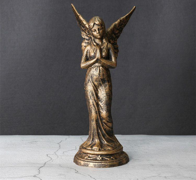 Vintage Cast Iron Garden Lawn Seated Fairy Wings Decorative Ornament Sculpture