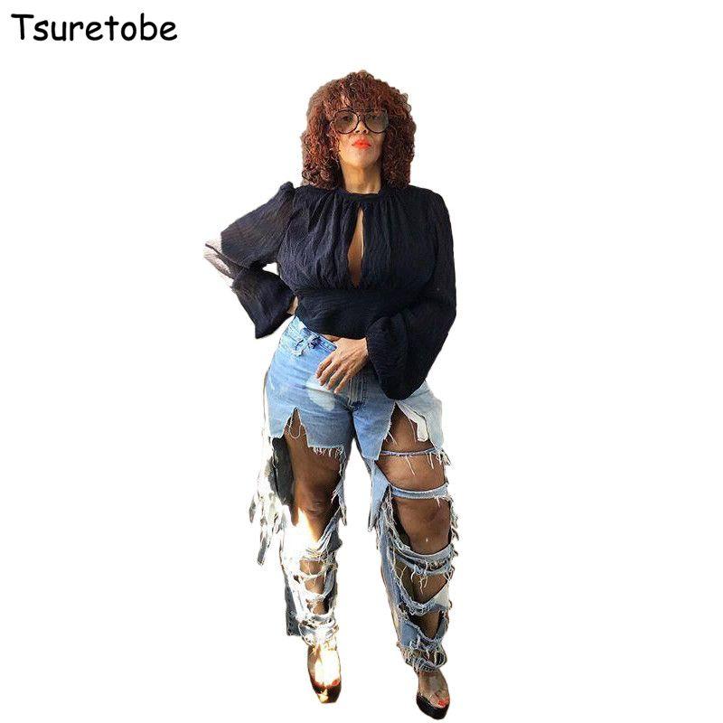 Tsuretobe Plus Size sexy Furo rasgado Jeans Mulheres Casual Jeans cintura alta Streetwear Denim Calças retas solto Boyfriend Jeans T200424