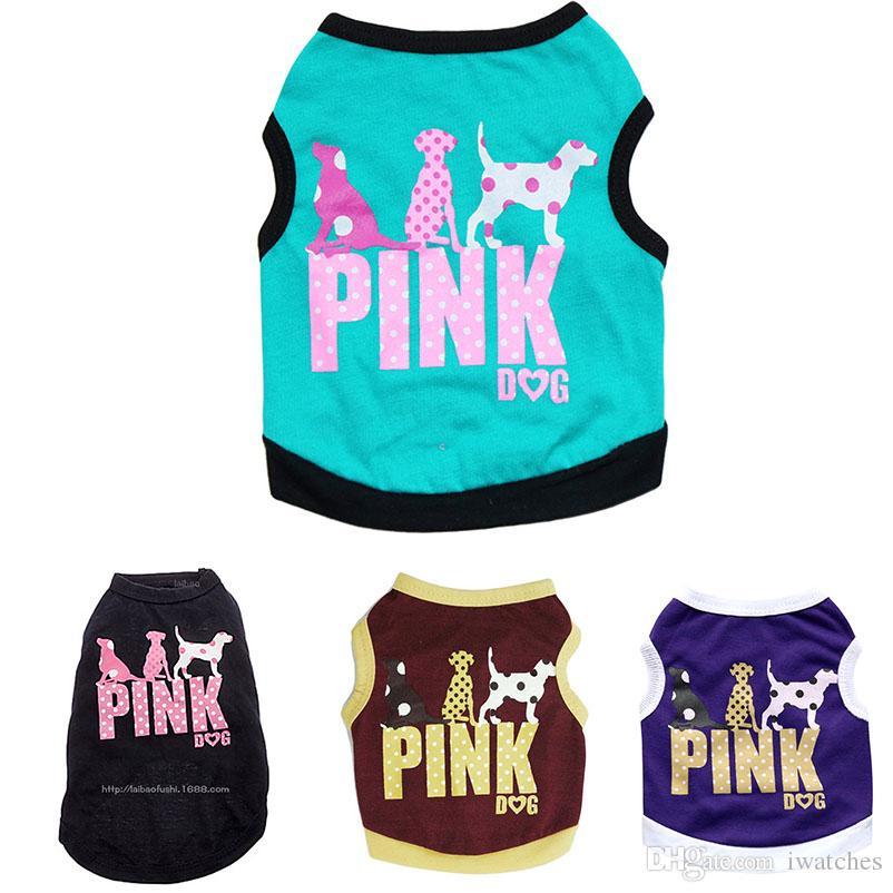 Mascotas chaleco rosado 4 colores impresión de la personalidad traje de gato perro mascota manera del chaleco pequeño perro de peluche ropa linda