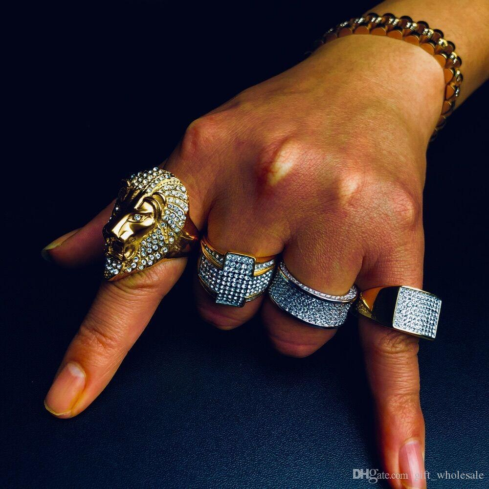 Micro Hip Hop Micro Bread with zircon Chunky Lion Head Mens Rement Out Bling Gold Filled Titanيوم Thick Steel Rings for Men