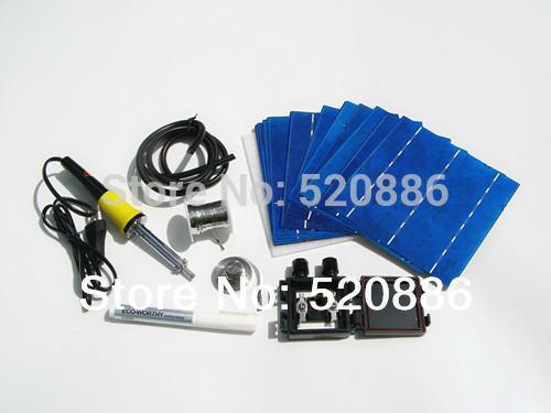 Freeshipping 40 pz 6x6 4.1 w cella solare per FAI DA TE pannello solare + tab filo bus filo penna di flusso + leadbox + cavi + pistola saldatore