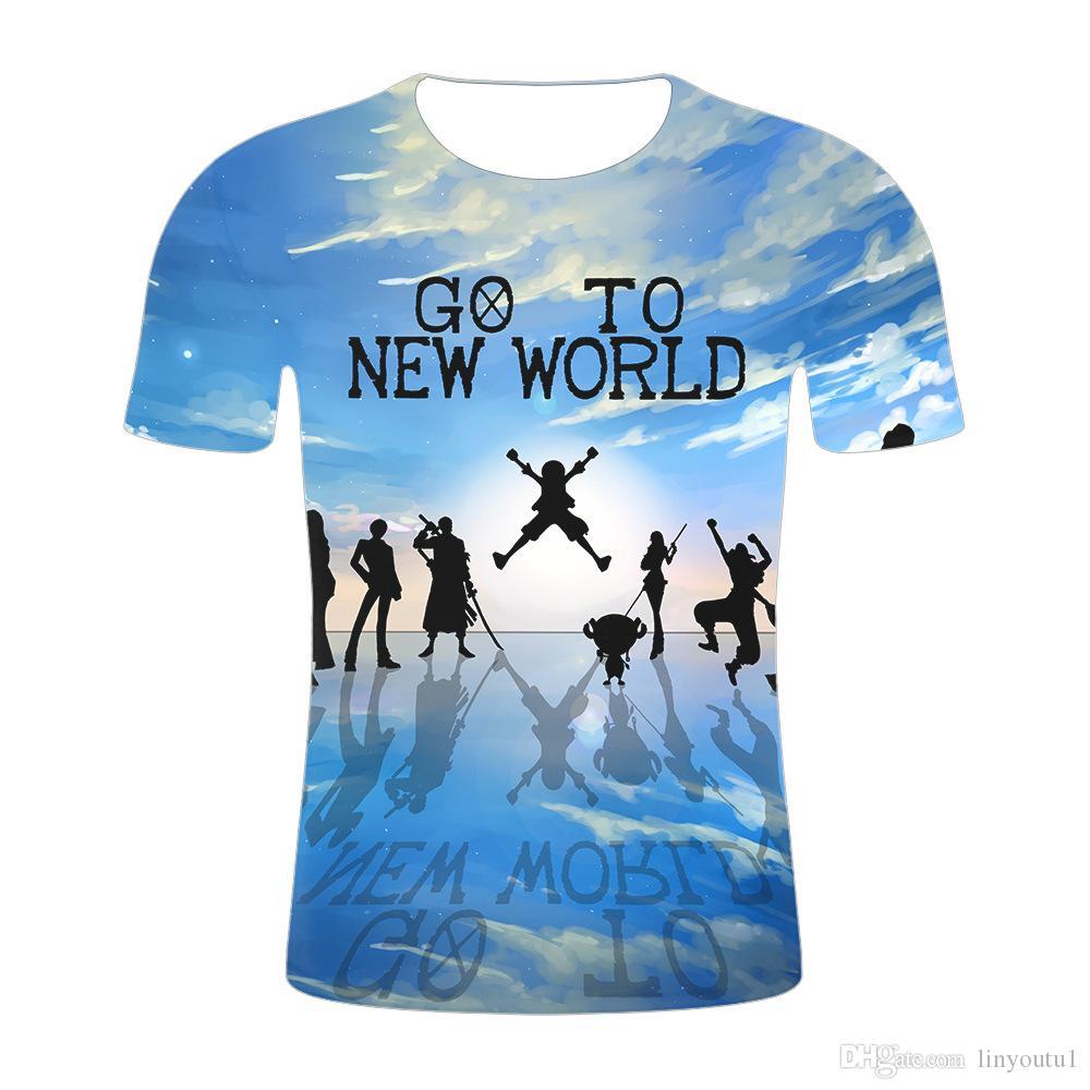 Camisetas de una pieza 2019 Nueva moda Hip Hop Camiseta Casual Brand Clothing 3D Impreso Summer Tops Tees camiseta