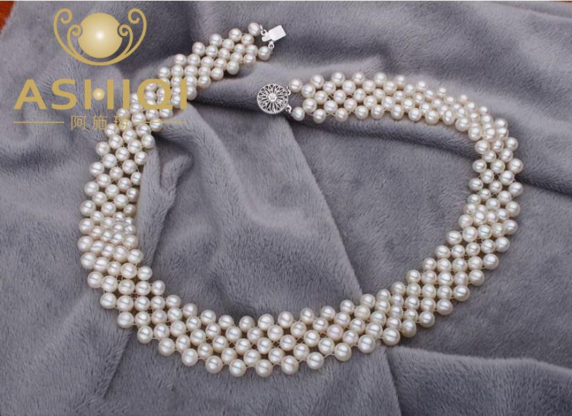 ASHIQI Real Natural Freshwater Pearl Choker Necklace For Women White Handmade Jewelry Best Gifts for Birthday