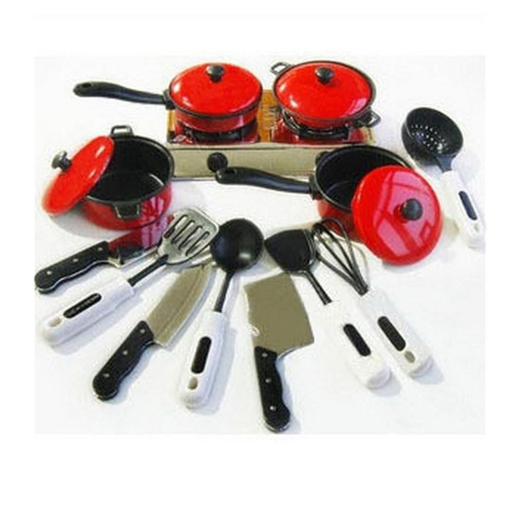 13 unids / set Niños Mini Cocina Utensilios de Cocina Pot Pan Kids Pretender Cocinar Juguete Simulación Utensilios de Cocina Juguetes Set Niños regalo