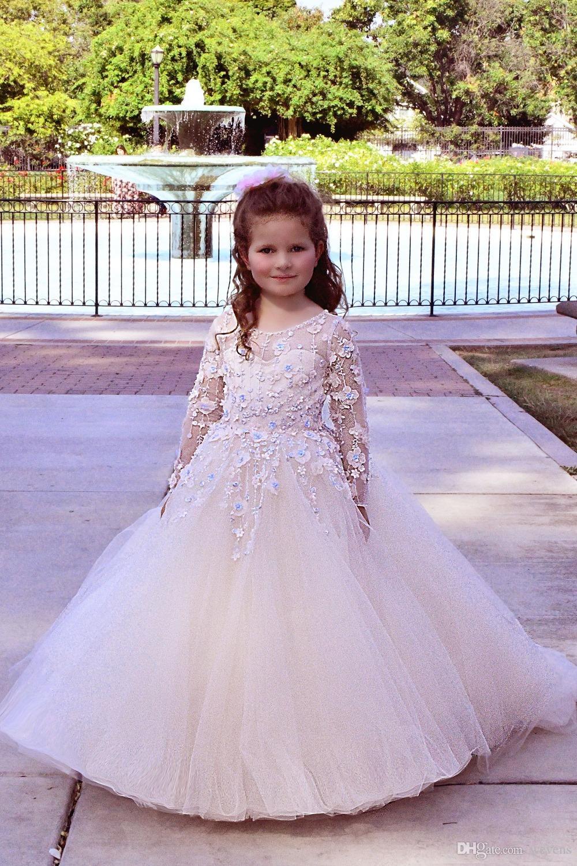 Princesa vestido de baile manga comprida vestidos da menina de flor para casamentos tule pageant vestidos holy primeira comunhão vestidos com flores