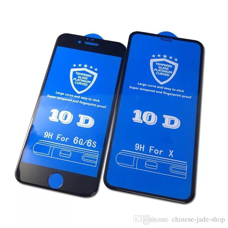 풀 커버 10D 대형 곡선 드롭 접착제 아이폰 12 11 Pro Max XR XS Max 6 7 8 Plus에 대 한 강화 유리 화면 보호기