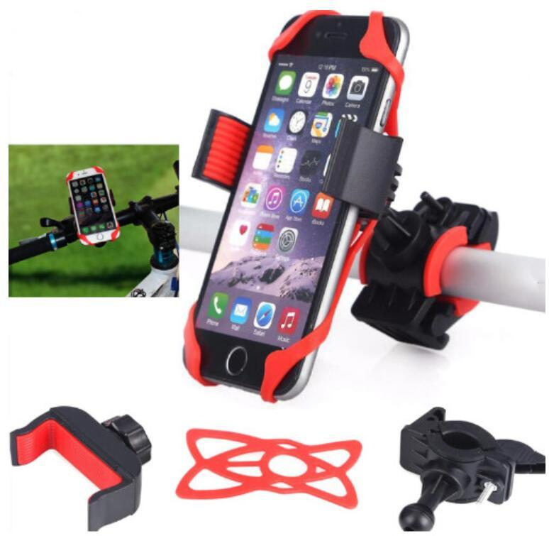 Universal Bicycle phone holder for iPhone Xs Samsung galaxy Motorcycle Handlebar Mount Phone Holder Silicone Supports Band 360 Degree Rotate