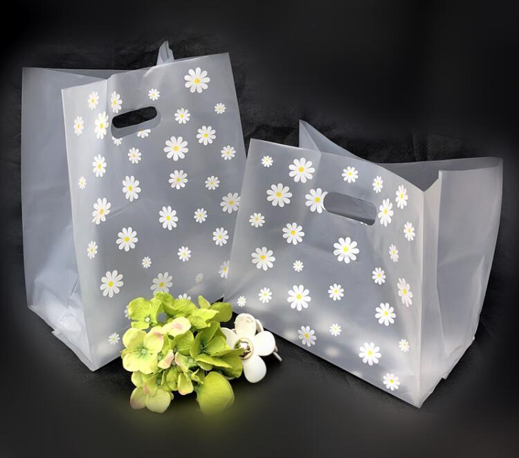 100pcs 5sizes Adorável Floral Gift Bag Thicken plástico Carry saco de compras, Takeaway embalagem de salada