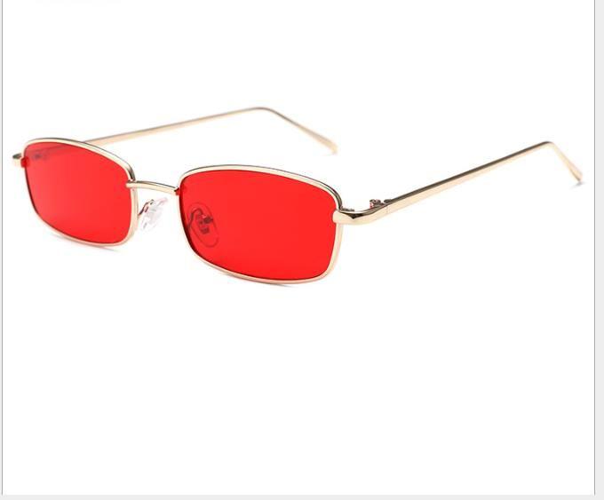Óculos de sol transparentes da foto do oceano vidros quadrados pequenos do metal quadro pequeno óculos de sol novos do tipo