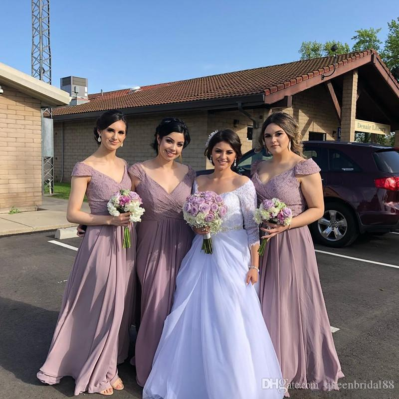 Newest 2019 Maid of Honor Wedding Guest Dress Lace Capped Off Shoulder Bridesmaid Dresses Long Chiffon Cheap Party Gowns