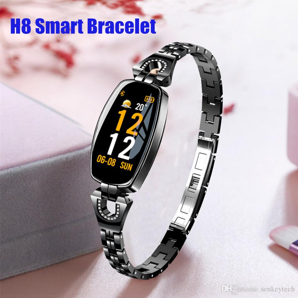 H8 الذكية معصمه اللياقة تعقب سوار المرأة smartwatch القلب معدل ضغط الدم عن الإناث الذكية الفرقة أفضل هدية لسيدة