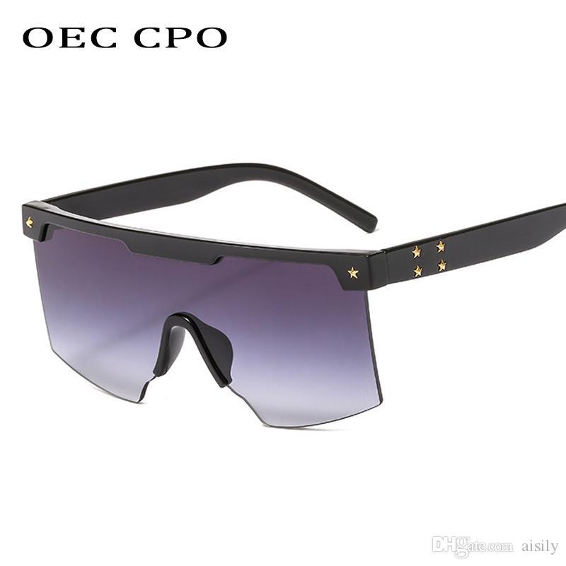 OEC CPO Негабаритных Старинные Солнцезащитные Очки Женщины Мужчины Марка Дизайнер Ретро Большие Квадратные Солнцезащитные Очки Мужчины Оттенки Большой Градиент GlasseL132
