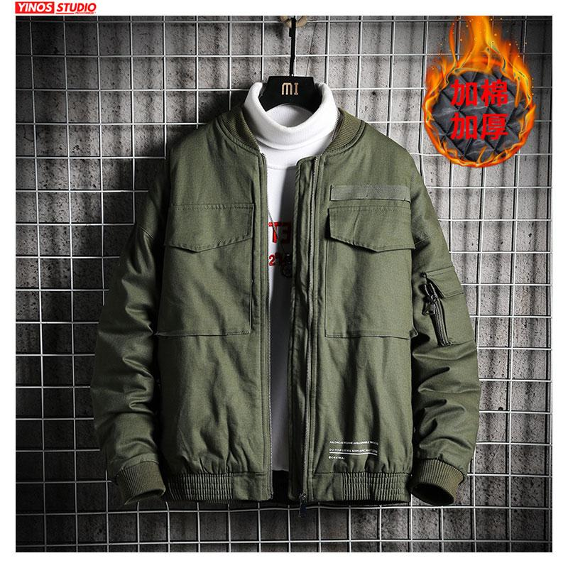 Dropshipping revestimento do inverno aquecimento Cotton Coats 2019 Masculino Outwear Sólidos Tactical Tops Jacket Mens Thicken Baseball
