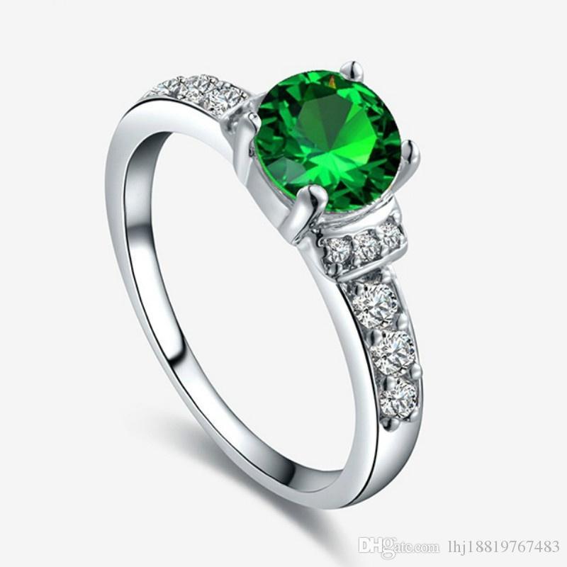 Ostersonntag Geschenk europäischen und amerikanische Art und Weise Simplified Platz Zirkone Kupfer Grüner Ring Hochzeit Urlaub Größe 5-9 # 0118