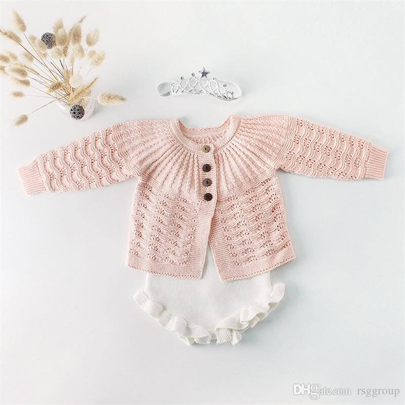 Fall INS Toddler Baby Girls Sweater Rompers Cotton Blank Long Sleeve Sweater Coat Front Buttons Jumpsuits Designs Newborn Autumn Bodysuits