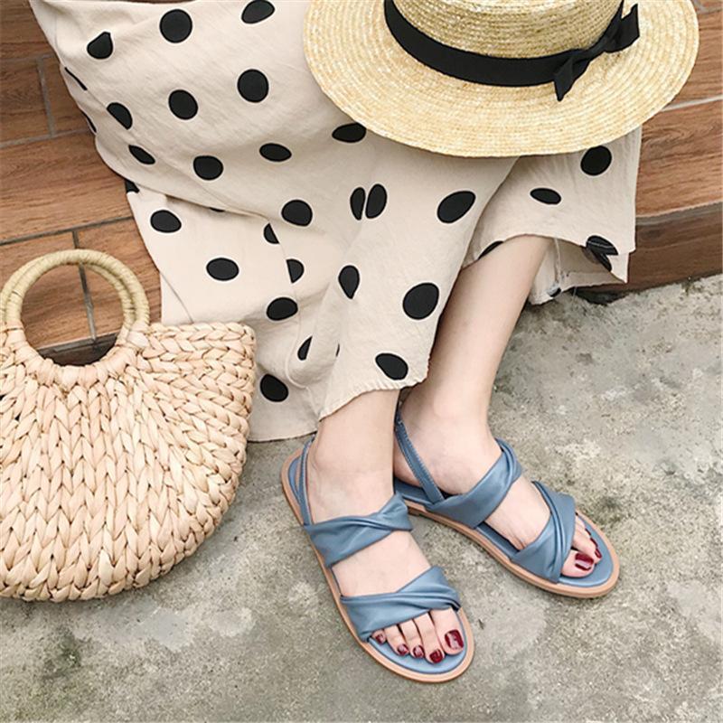 Pretty2019 Sandalet Ins Kadın Yaz Dışında Tatil Giysileri Plaj Joker Peri Etek Dawdler Ayakkabı Gelgit