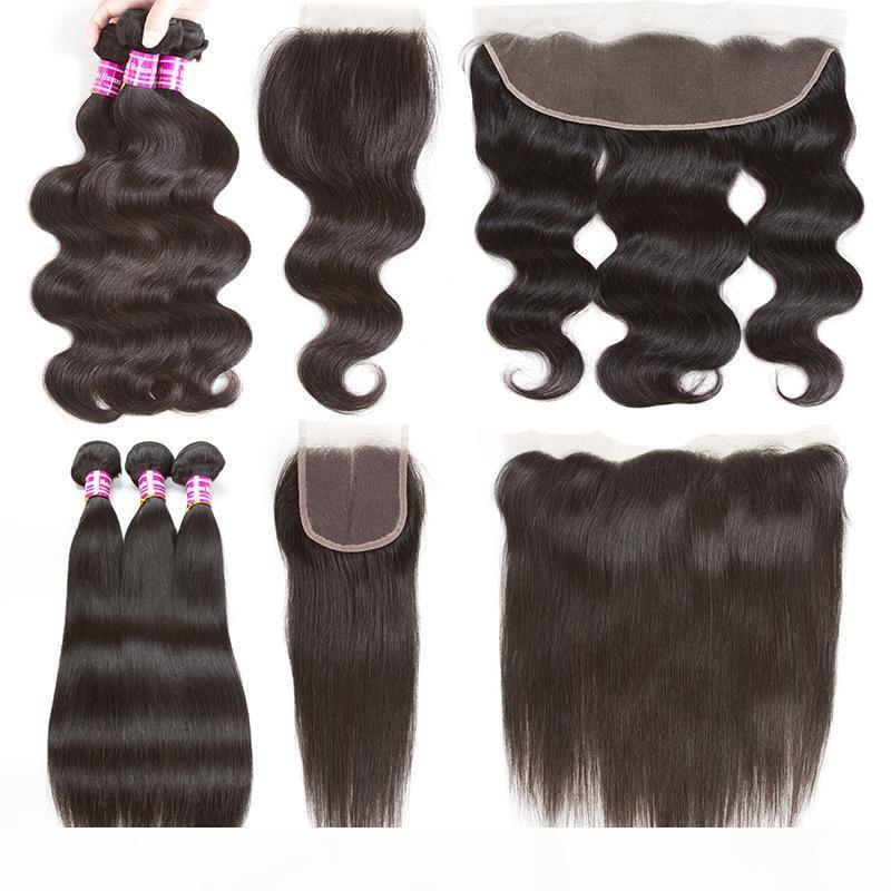 8a brasileiro virgem da onda do corpo Tece cabelo 3 pacotes com Lace frontal Encerramento peruana Heterossexual Cabelo Humano com 4x4 Lace Weaves Encerramento