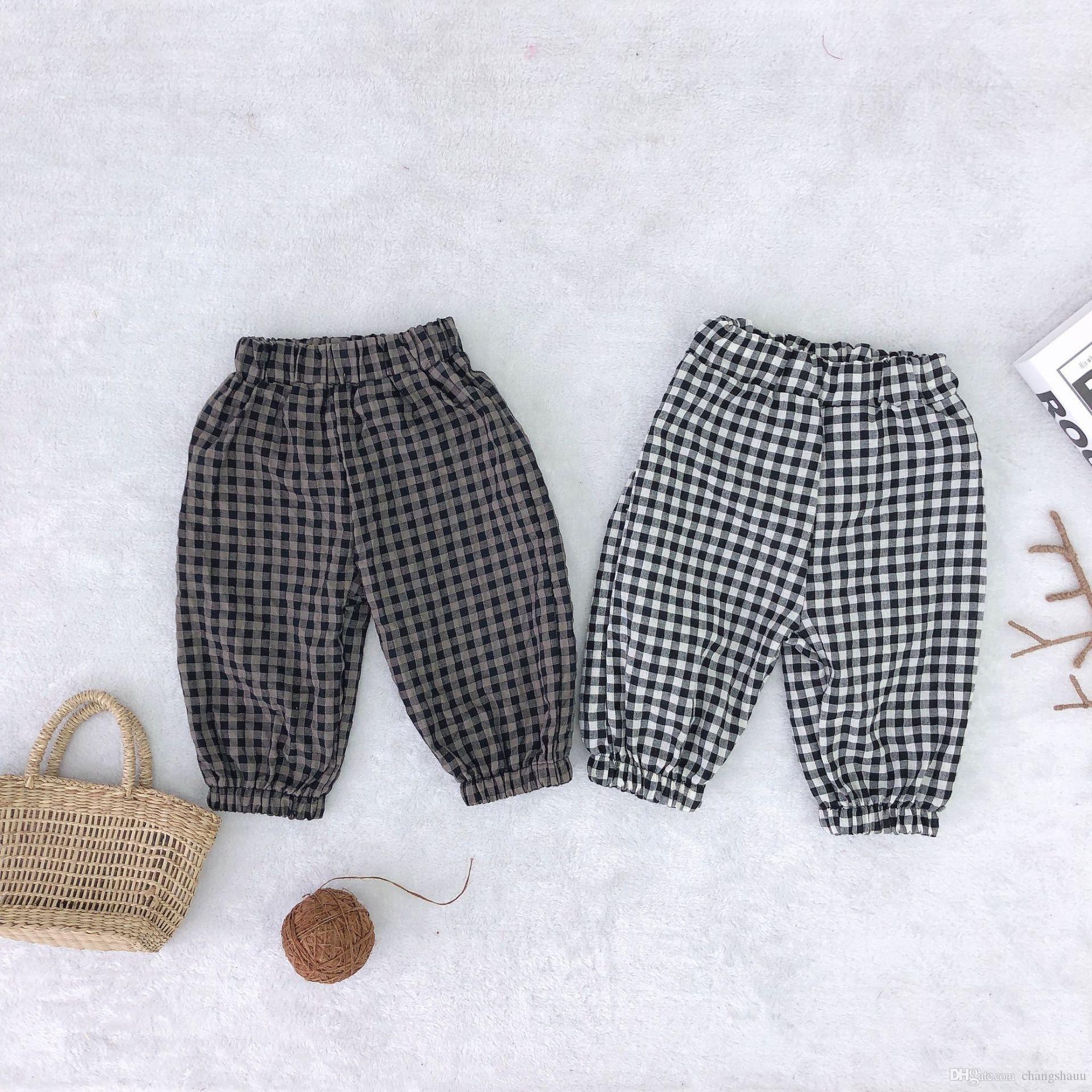 İlkbahar Sonbahar erkek kız pamuk ekose rahat pantolon 1-5 yıl çocuk Anti-sivrisinek pantolon ayak bileği bantlı pantolon