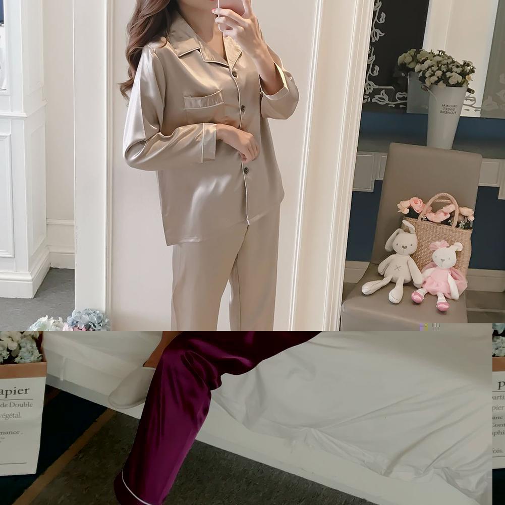 MISSKY 2 шт. / компл. женщины пижамы наборы сна носить сплошной цвет отворотом имитация шелка с длинным рукавом главная одежда