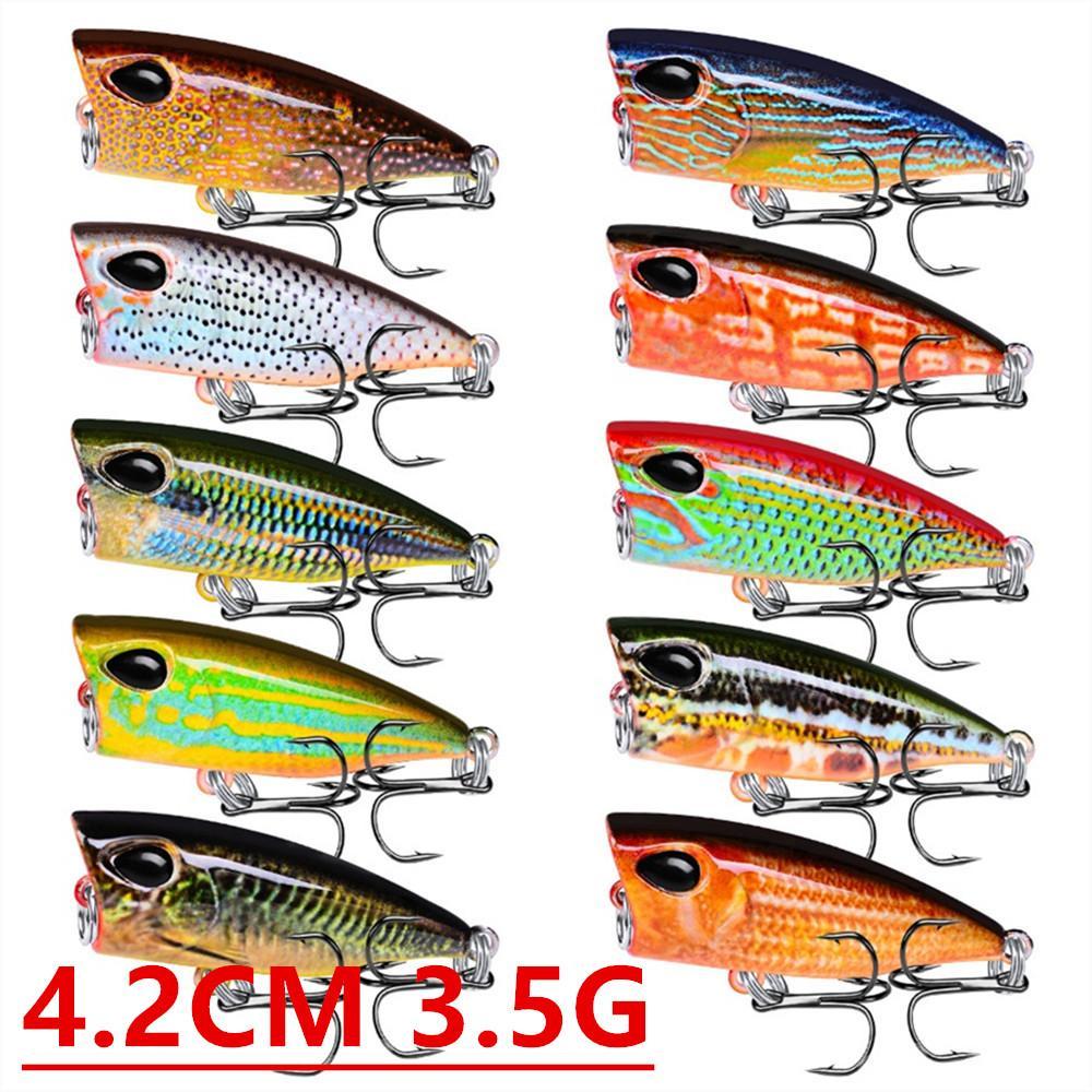 1 Adet 10 Renk 4.2cm 3.5g Popper Balıkçılık Kancalar Balık oltaları 10 # Kanca Hard Yemler Yemler Pesca olta takımları Aksesuarlar B-104