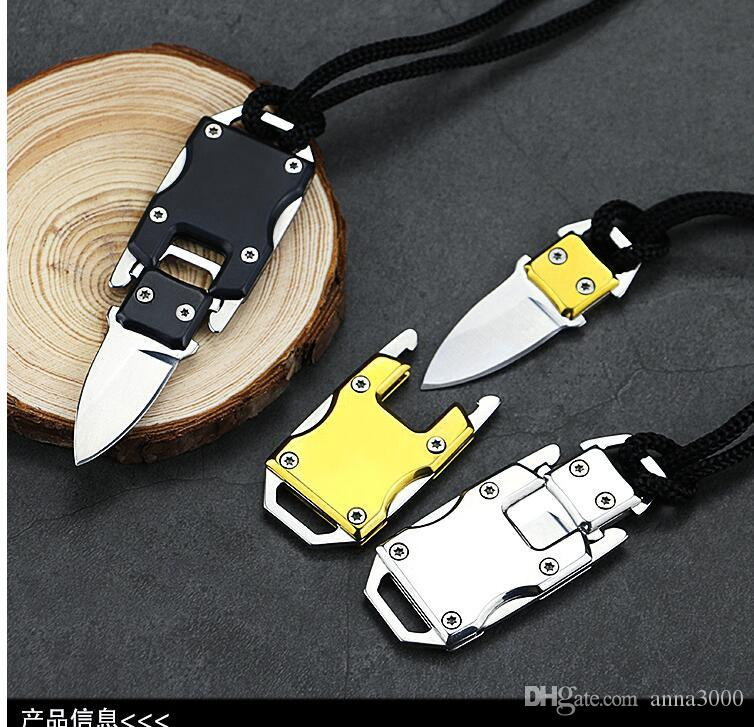 A--Mini Key Chain Pocket Knife aluminum double action tactical self defense folding knife camping hunting knife Christmas gift