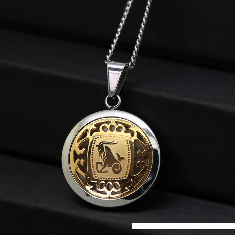 Козерог Пара Ожерелье корейского титана стали Hip Hop Созвездие Козерог ожерелье