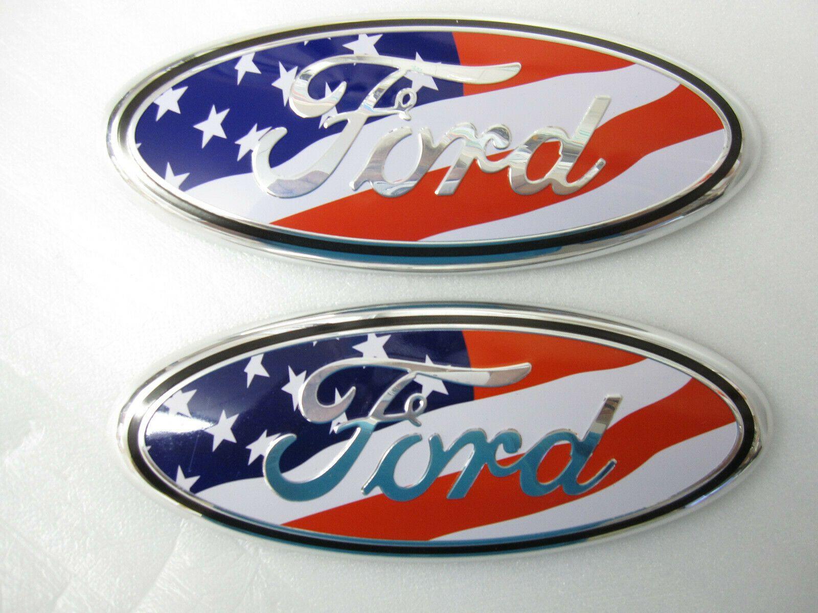 العلم الأمريكي 2005-2014 فورد F150 جبهة GRILLE / الباب الخلفي 9 بوصة البيضاوي شعار 2PCS