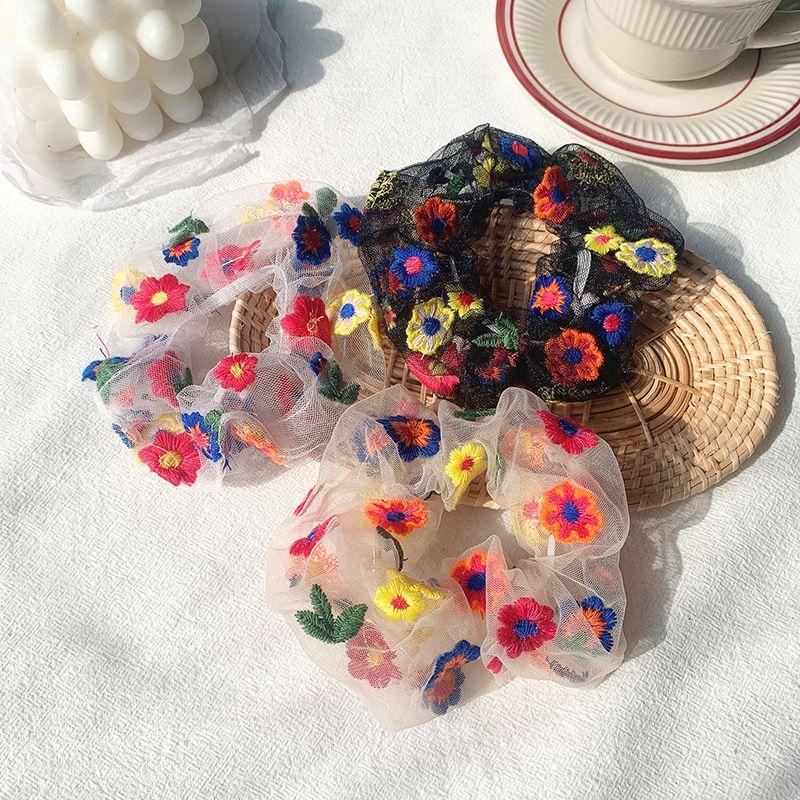 Sommer-Blumen-Gaze-Haar-Band-Seil-nette Druck Riegel-Pferdeschwanz-Ineinander greifen Haar Scrunchies Gummiband Mode, Frauen Haarschmuck