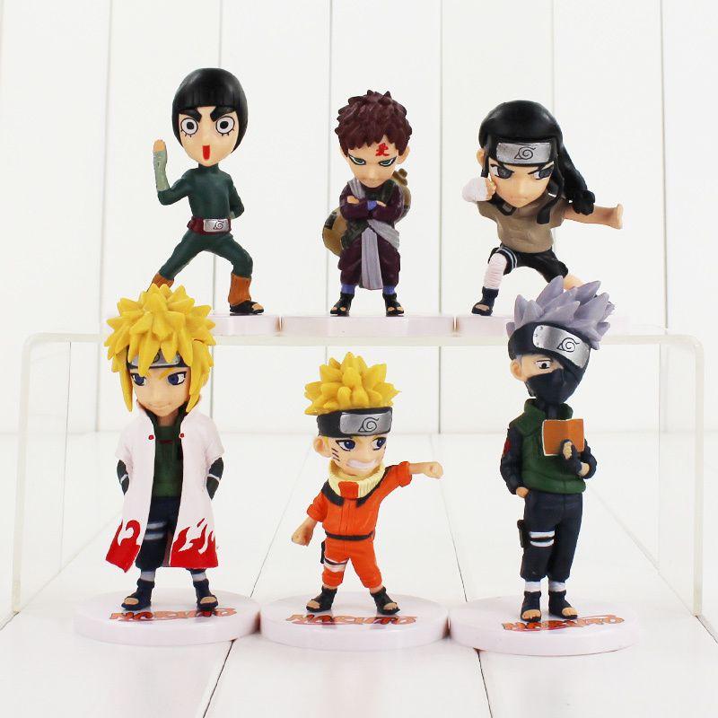 6pcs / lot Naruto figura de juguete Itachi Gaara Kakashi Sasuke Shikamaru Yondaime Neji Dolor Deidara Sasori lindo Muñecas Modelo MX200319