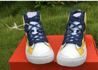 nave de la gota auténtica Sacai x Mediados Blazer Amarillo Rojo Varsity Maíz Blanco Azul Hombres Baloncesto zapatos deportivos zapatillas de deporte 28