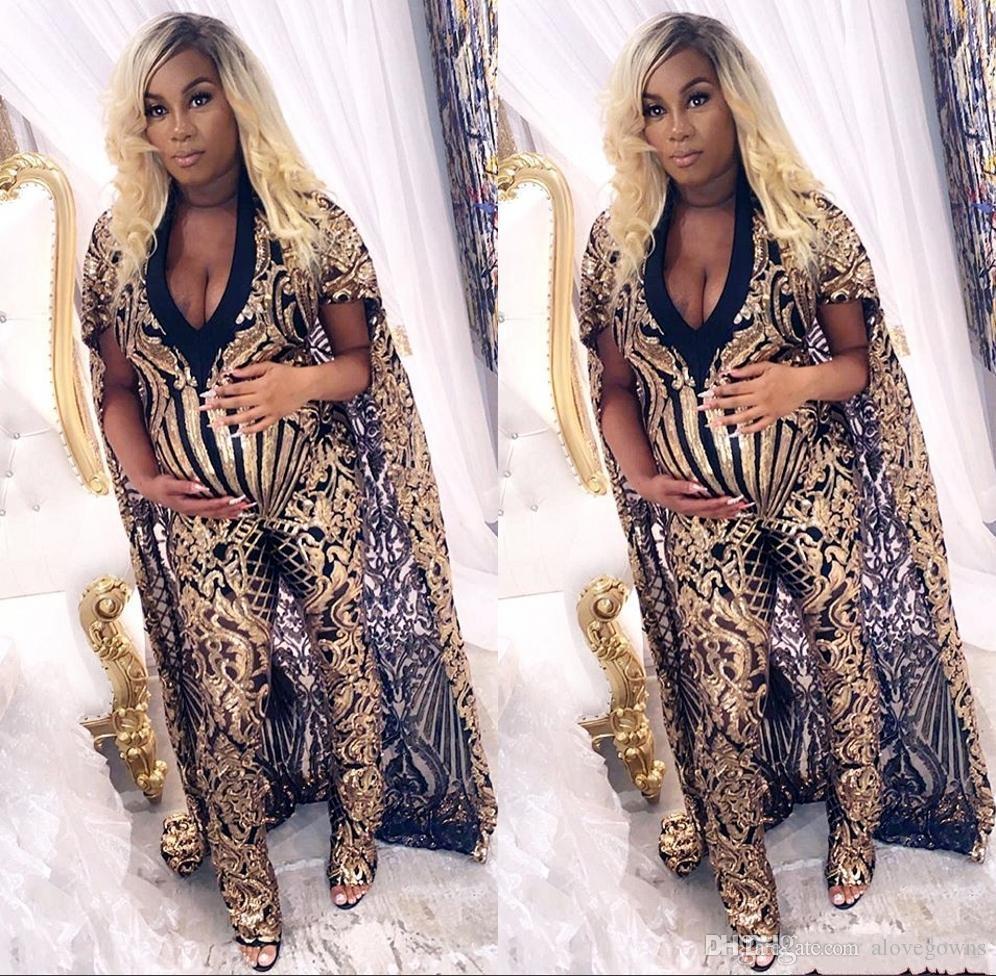 Элегантные черные девушки Золотые Выпускные платья 2020 Сияющий вечерние платья плюс размер Комбинезоны Африканский Sequined платье vestidos де фиеста
