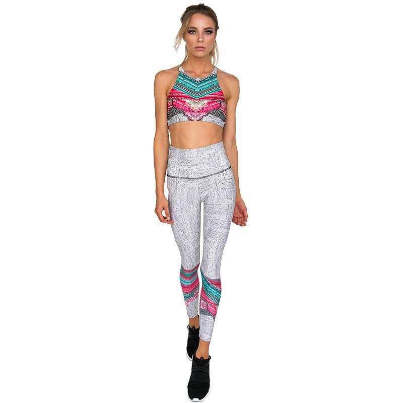 2 Piece Yoga Set Treino Floral Imprimir calças Bra + longas Sportsuit para a aptidão Esporte Suit Mulheres Sportswear Y200328