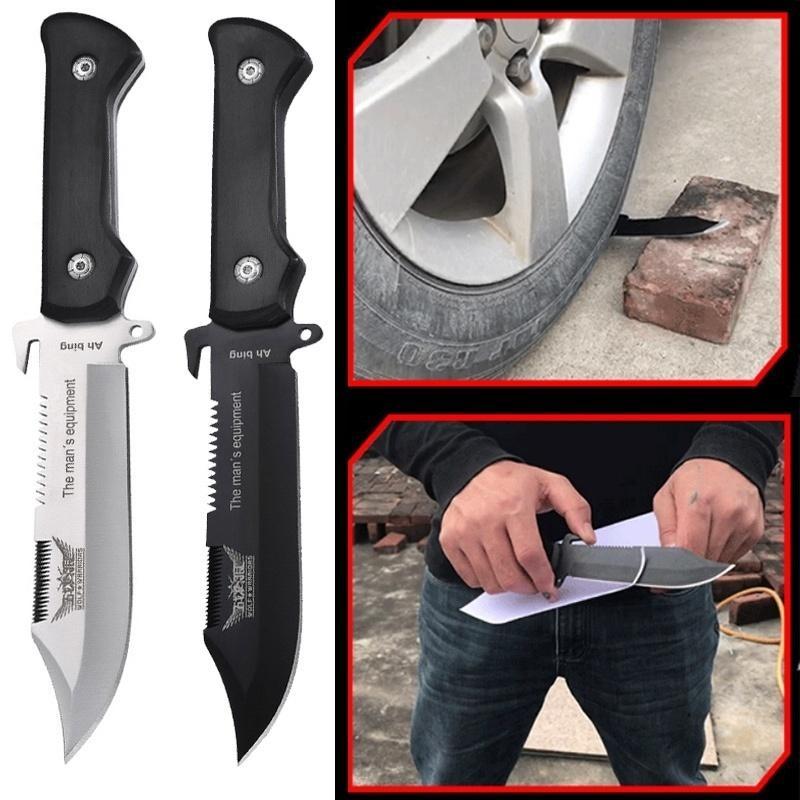 야외 캠핑 장비 나이프 블레이드 스트레이트 칼 생존 구조 도구를 고정