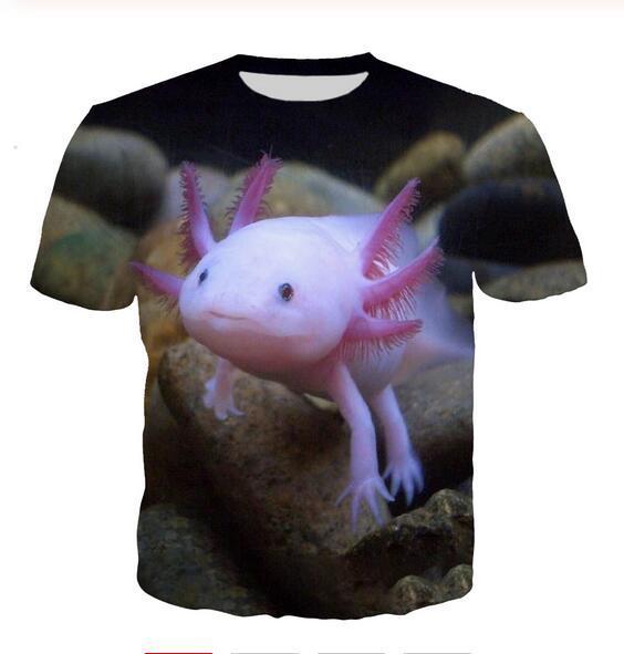 Neuestes Art und Weise der Männer / Womans Axolotl Tiere Sommer-Art-T-Shirts 3D-Druck-beiläufig T-Shirt Tops Plus Size BB0184