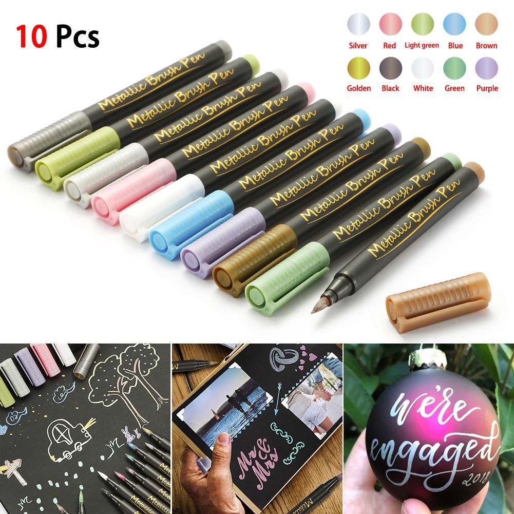 10 نوعا من اللون سلامة علامة المعدنية القلم القلم الطلاء وحماية البيئة تصميم DIY لألبوم القرطاسية فن الرسم